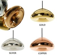 Wholesale Vintage Mirror Pendant - Tom Dixon Void Copper Brass Bowl Mirror Glass Bar Art Modern E27 LED Pendant Lamp Hanging Wire Lighting chandelier Lights