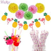 FENGRISE Flamingo Ananas Banner Hawaiian Luau Sommer Party Dekoration Pom Poms Papierstrohe Hochzeit Geburtstag Party Supplies