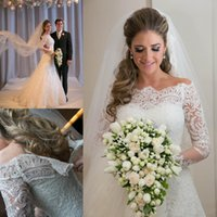 Wholesale Sexy Alencon Lace Wedding Dress - Free shipping Holiday 2015 Fashion A Line Bateau long sleeve Chapel Train Alencon lace long sleeve wedding dresses