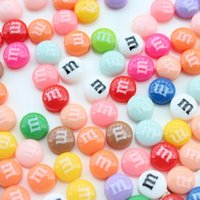 Atacado-300pcs mini-Resin Beans M doces de chocolate Home Button Etiqueta para flatbacks cabochão telefone celular 10mm