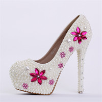 Wholesale Navy Bridesmaids Shoes - New handmade fashin ivory wedding Shoes round toe crystal High Heels Bridal dresses Shoes pink rhinestone Bridesmaid dress Pumps