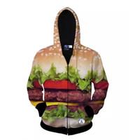 Wholesale Hamburger Pullover - 3d Hamburger Pattern Zipper Hooded Harajuku Casual Sweatshirt Men's Tops Personalized Funny Sportswear Hoodies Tracksuit For Women And Men