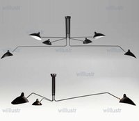 Serge Mouille Pole Lámpara colgante Sable Rattling Swing Duckbill Lámpara de techo Metal Comedor Lámpara de techo diseño mecánico iluminación 3 cabezas