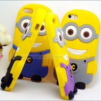 Wholesale Iphone4 Case Minion - Cute Cartoon Model Silicon Material Despicable Me Yellow Minion Cover Shell For iphone4 4s Case For Apple iPhone4S 4 1pc::-SGK09