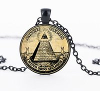 Wholesale Christmas Posters Prints - Vintage symbol masonic illuminati antique print illustration poster glass pendant necklace fashion jewelry FTC-N1003