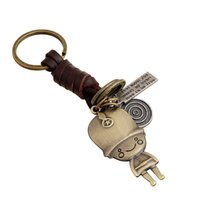 Wholesale British Keychain - New retro woven leather keychain Alloy key chain British guard of honor Cartoon Pendant Key Rings Promotion Gift