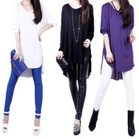 Wholesale Solid Long Shirts Women - Women t shirt Chiffon Blouse Patchwork Asymmetric Hem casual dress Batwing Sleeve Loose Top roupas femininas Black White Purple G0907