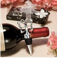 Wholesale Butterfly Bottle Stopper - 2015 NEW Butterfly Theme Wine Bottle Stopper 100PCS LOT wedding favors guest present gifts Free shipping