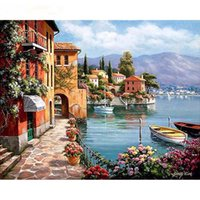 Wholesale Paint Number Kit Canvas - Venice Resorts Seascape DIY Painting By Numbers Painting By Numbers Kits Paint On Canvas For Home Wall Art Picture