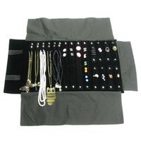 Wholesale Jewelry Storage Bags For Travel - Portable Black Velvet Jewelry Display Set Rolls Travel Organizer Bag Foldable For Earrings Ring Chain Pendant Necklace Storage