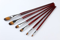 Wholesale Pincel Art - Wholesale-6pcs sets best popular oil acrylic artist paint brush set plastic flat paint brush pincel art pinceis aquarelas free shipping