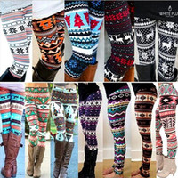 Wholesale leggings knit - Winter Christmas Snowflake Knitted Leggings Xmas Warm Stockings Pants Stretch Tights Women Bootcut Stretchy Pants OOA3442