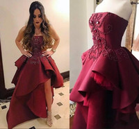 Wholesale Sexy Stylish Party Dresses - Stylish Burgundy Asymmetrical Prom Dresses 2018 Strapless Crystals Beaded A Line Peplum Formal Evening Gowns Custom Fashion Party Wear