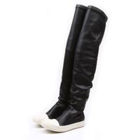 platform diz üstü çizmeler toptan satış-Streç sonbahar kış diz çizmeler kadın üzerinde siyah haki kalın beyaz alt düz platform ayakkabılar uyluk yüksek çizmeler uzun çizmeler