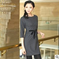 Wholesale Women Elegant Woolen Dresses - 2015 Autumn And Winter Plus Size Woolen Dress Long-sleeve Slim Fashion Elegant Women's Thin Woolen One-piece Dress FG1511