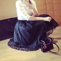 Wholesale Double Layer Chiffon Skirt - Retro Women Double Layer Maxi Skirt Flower Lace Party Long Elastic Waist Skirt Hot LY2 FG1511