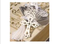 marcadores cruzados al por mayor-Marcador de plata de acero inoxidable Ahueca la cruz Marcadores 100 Sets Favores de la boda Nueva moda hermosos regalos de boda Favores de la boda