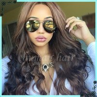 Wholesale Wavy Light Auburn Wig - TOP 8A 150 density wavy full lace human hair wigs lace front wig for black women human hair wigs