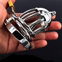 Wholesale Chastity Short Cage Urethral Tube - Sex Product Chastity Belt Short Stainless Steel Cock Cage Male Chastity Device BDSM Bondage Urethral Sounds Urethral Tube Cock Rings