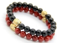 Wholesale Fine Jewlery - New Men's Christmas Gift Fine Jewlery Wholesale 10pcs lot Exquisite Natural Red and Black Agate Beads Gold Buddha Bracelet
