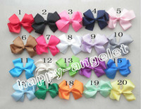 Wholesale Double Prong Hair Clips - 100pcs Grosgrain ribbon Bows flower double prong clips covered hairpin Baby Bowknot hair Elastic bobbles bow hairband Hair Accessories kids