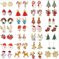 Wholesale Red Coral Stud Earrings Silver - Mrerry Christmas Alloy Earrings For Fashion Jewelry Women Kids Charm Stud Earrings Elk Christmas Tree Santa Claus Xmas Gift