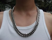Wholesale Curb Link Chain Necklace Men - With Lobster clasp Men Jewelry 15mm 24'' Huge Large Stainless Steel Heavy Chunky Cuban Curb Link Necklace Chain for Friends holiday Gifts
