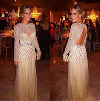 Wholesale sexy black long sleeve keyhole dress resale online - Sexy Back Prom Dresses Sequins Crystal Beads Long Sleeves Keyhole Neck Beading Sheath Sweep Train Tulle Mermaid Prom Party Dresses