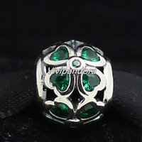 Wholesale European Green Cube - 925 Sterling Silver Clover Charm Bead with Dark Green Cz Fit European Pandora Jewelry Bracelets & Necklace