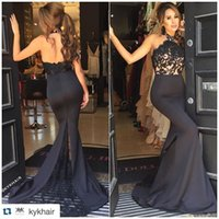 Wholesale Eveing Dress Ruffles - Black Backless Mermaid Evening Dresses 2016 Sexy Halter Appliques Back Split Front Pageant Gowns Ruffles Court Train Eveing Dresses BA1067