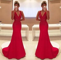 Wholesale Two Shoulder Yellow Bridal Dress - 2017 Elegant Red Mermaid Evening Dresses Sexy V Neck Appliques Long Party Prom Gowns Celerity Formal Wear Bridal Reception Dresses