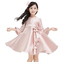 Wholesale Gift Satin Bow - Long Sleeve Cute Beautiful Princess Dresses Pink Satin Flower Girls Dresses 2016 Toddler Bows 3D Flower Knee-Length Children Festivals Gift
