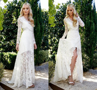 online shopping Lace Short Beach Wedding Dress - Beach Bohemia Wedding Dresses 2016 Front Sllite Sweep Train V Neck A Line Applique Lace Romnatic Bridal Gown Long Sleeve Robe Marige