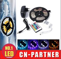 Wholesale Led Power Supply 12v 5w - Supply Waterproof 5M Roll 3528 SMD 60 LEDs M 300 LEDs RGB Flexible LED Strip Light With IR Controller with 2A EU US UK  AU power supply