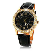 Wholesale Leather Strap Bling Watches - Superior Bling Gold Crystal Luxury Leather Strap Quartz Wrist Watch for Women July2 zh3