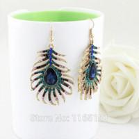 Wholesale feather shaped earrings - Multicolor Rhinestone Peacock Feather Shape Alloy Drop Earrings 2014 Brincos for Women Drop Earrings Cheap Drop Earrings