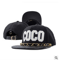 Wholesale Hat Chain For Women - Wholesale-2015 iron chain leather snapback brand coco embroidered hip-hop baseball cap casual flat brimmed adjustable hat for men women