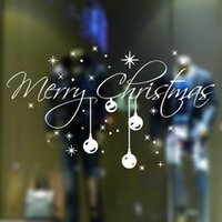 Wholesale christmas wall decorations for glass - Merry Christmas snow flake shop window or glass background decoration removable art design murals stickers decoration