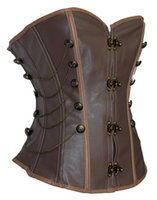Wholesale Waist Training Corsets String - Corselet Overbust Sexy Brown Steam Punk Corset with G-string sexy women corset dress set steampunk waist training corsets S5338