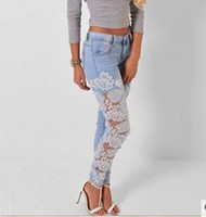 Wholesale Spliced Jeans - 2015 Sexy Hollow Out Lace Jeans Pant Women Girls Vintage Pant Long Jeans Splice Elasticity Slim Fit Jeans Pant