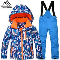 Atacado- SAENSHING Terno de esqui de inverno Kids Boys Super Warm Waterproof Ski Jacket Snowboard Pants Girls Mountain Skiing Suit Snowboarding Set