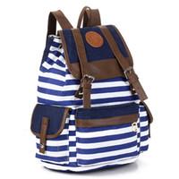 Wholesale Hobo School Bag - 2015 Stripe Women Printing Backpacks Women School Bags Travel bags College Students Backpack Ladies Shoulder Bags Campus Bags.