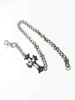 Wholesale Wholesale Metal Curb Chain - Hot long Silver Metal Cross Extra Long Key Wallet Chains Punk Chunky Cuban Curb Jeans Hip Hop Waist Chain