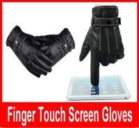 Wholesale Waterproof Touch Screen Gloves - Men Black Winter Warm Leather Full Finger Motorcycle Gloves Fashion Screen Touch Gloves motorcycle waterproof windproof
