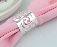 Wholesale silver napkin holders for sale - Elegant Hollow Napkin Rings silver Pierced lace Metal Ring wedding napkin holder Wedding table decoration Supplies