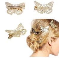 pince à cheveux papillon doré achat en gros de-Mode Bling or papillon pince à cheveux cadeau filles pince à cheveux accessoires bandeau or creux sur arc papillon barrette épingles à cheveux A280