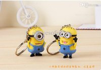 Wholesale Despicable Charms - Wholesale-2Pcs Lot Key Holders Bag Charms Cartoon Keychain Despicable Me 3D Eye Small Minion Key Ring chaveiro llaveros
