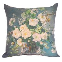 Barato Vasos De Hotel-Atacado- Comfortable 45x45cm Cotton Linen Oil Painting Vase Flores Throw Pillow Case