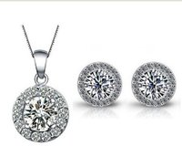 Wholesale Necklace Small Crystal Pendant - ewelry Set for Women Including 1 Pair Small Cute CZ Stud Earrings and Chain Pendant Necklace of Perfect Handcraft