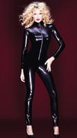 Wholesale latex body suit costume - Wholesale- Hot Sexy Black Catwomen Jumpsuit PVC Spandex Latex Catsuit Costumes for Women Body Suits Fetish Zipper Leather Jumpsuit